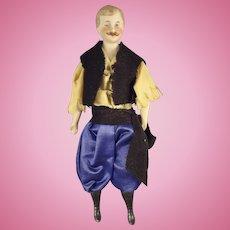 "SALE  7"" Doll House Man in Regional Costume Moustache"
