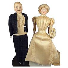 Fantastic Bisque Bride and Groom in Original Costumes