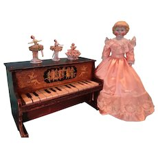 SALE  Doll Size Piano with Porcelain Dancing Figures