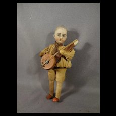 "3 1/2"" Bisque and Cotton Batting Banjo Player"