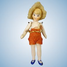 "Tiny 2 1/2"" Flapper Doll"