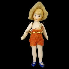 "Tiny 2 1/2"" Flapper Doll"