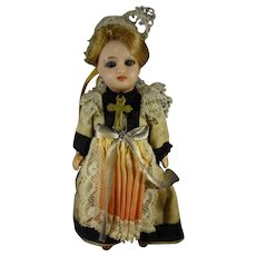 "5"" French Unis Doll with Glass Eyes from Brittany"