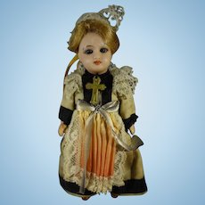 "SALE 5"" French Unis Doll with Glass Eyes from Brittany"