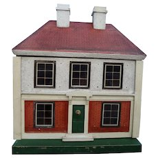 Four Room Doll House with Center Staircase and Fireplaces