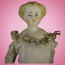 "9 1/2"" Parian Shoulderhead with Blonde Sculpted Hair"