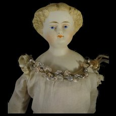 "9 1/2"" Parian Shoulderhead with Blonde Sculpted Hair"