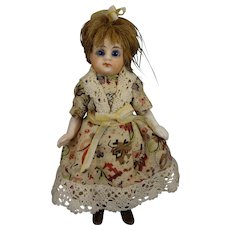"SALE 4 1/2"" All Bisque Doll with Black Stockings Glass Eyes"