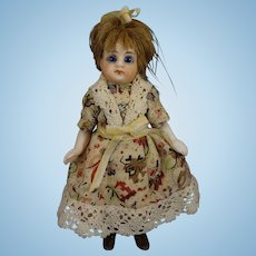 """SALE 4 1/2"""" All Bisque Doll with Black Stockings Glass Eyes"""