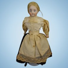 "5 1/2"" Bisque Doll House Lady with Blonde Wig"