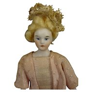 """SALE 5 1/2"""" Doll House Lady with Blonde Wig"""