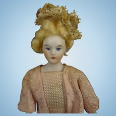 "SALE 5 1/2"" Doll House Lady with Blonde Wig"