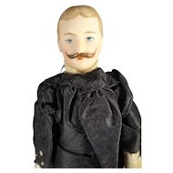 "SALE 7"" Bisque Doll House Man with Moustache"