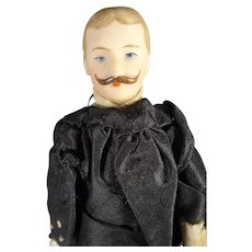 """SALE 7"""" Bisque Doll House Man with Moustache"""