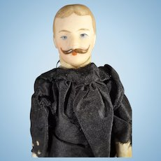 "7"" Bisque Doll House Man with Moustache"