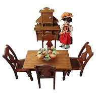 Oak Dining Table and Chairs for Doll House