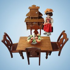 SALE  Oak Dining Table and Chairs for Doll House