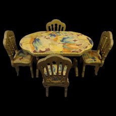 Fabric Covered Table and Chairs for Doll House