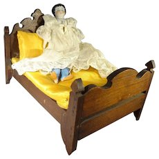 Walnut Doll Bed and Bedding