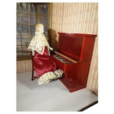 Red Gottschalk Piano and Chair for Doll House