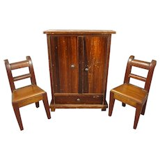 SALE Antique Doll House Armoire and Side Chairs