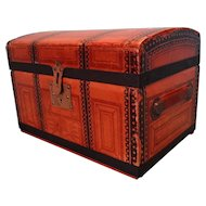 Dome Top Doll's Trunk Paper Covered