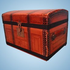 SALE Dome Top Doll's Trunk Paper Covered