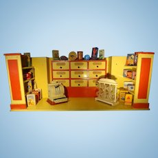 German Confection Shop Room Box with Shelves and Drawers