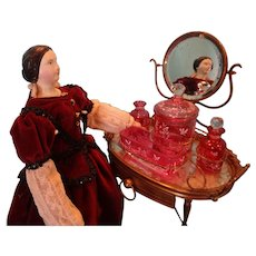 Exquisite Cranberry Glass and Gilt Bronze Vanity for French Fashion