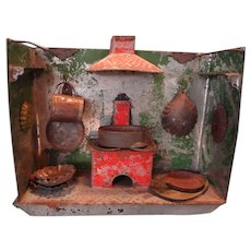 SALE  German Tin Kitchen with Stove and Chimney Hood