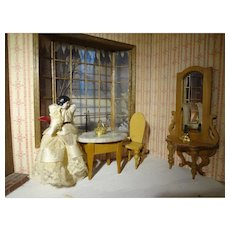 Tiny Doll House Bisque Doll in Silk Lace Dress