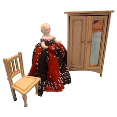 SALE  Gottschalk Armoire and Chair for Doll House