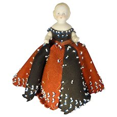"6"" All Bisque Doll as Pen Wipe Doll"