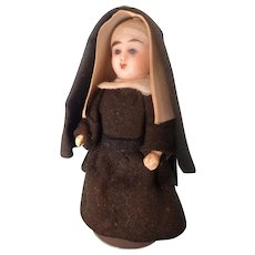 Outstanding All Bisque Nun Doll with Glass Eyes