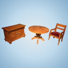 Doll House Table Chair and Cabinet