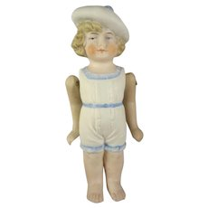 "4"" All Bisque Doll in Sculpted Clothes"