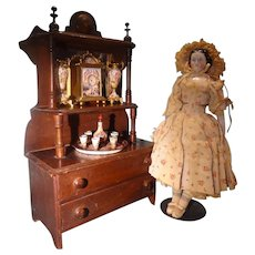 Lovely Doll's China Buffet or Dresser with Back Mirror