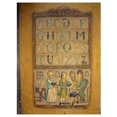 Antique Relief Plaque of Alphabet and Firgures
