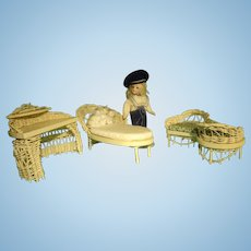 Three Piece Set of Wicker Doll House Furniture
