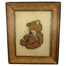 Framed Petit Point of a Teddy Bear