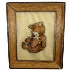 Framed Petit Point of a Teddy Bear