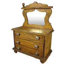Doll House Oak Three Drawer Chest with Mirror