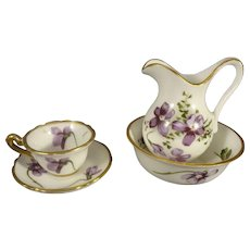 Miniature Bone China Pitcher, Bowl, Cup and Saucer