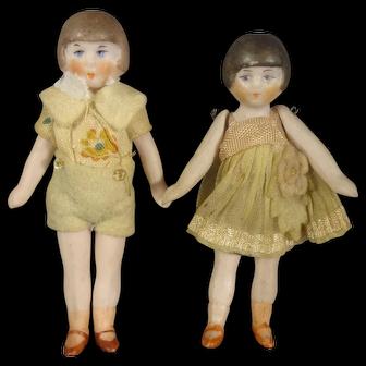"All Bisque Flapper Dolls 3"" tall"