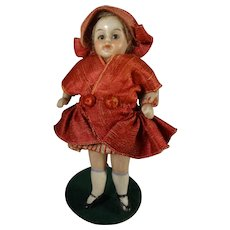 """3 1/2"""" Adorable All Bisque Doll with Glass Eyes"""