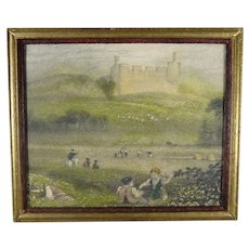 Antique Hand Tinted Miniature Engraving of Hume Castle
