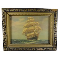 Miniature Nautical Print of Sailing Ship