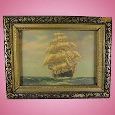 Miniature Nautical Print of Sailing Ship