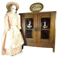 Antique Double Door China Cabinet for Dolls