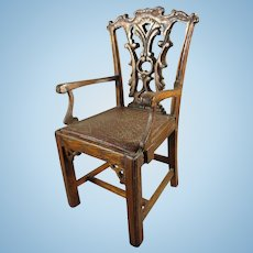 Miniature Carved Wood Chair with Leather Seat